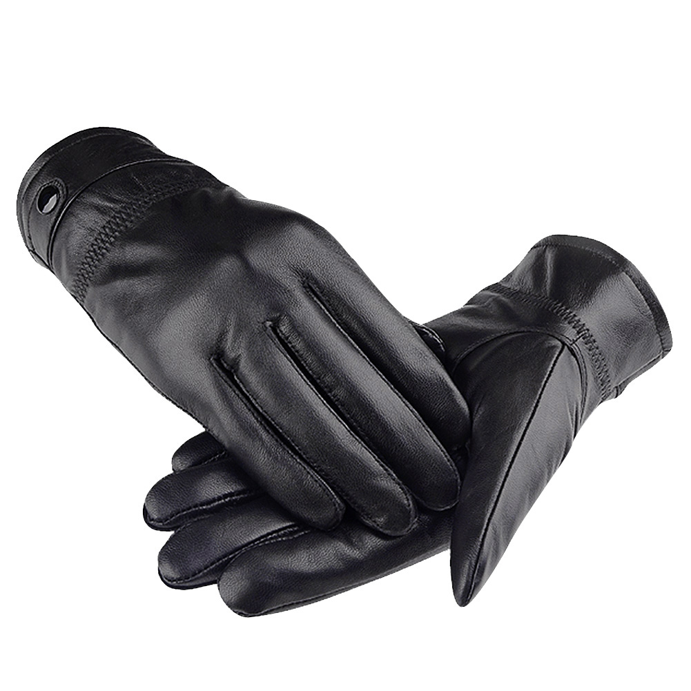 Mens Genuine Leather Gloves-Allcaca Men's Genuine Leather Warm Lined Driving Gloves Winter Warm Touch Screeen Gloves Motorcycle Gloves