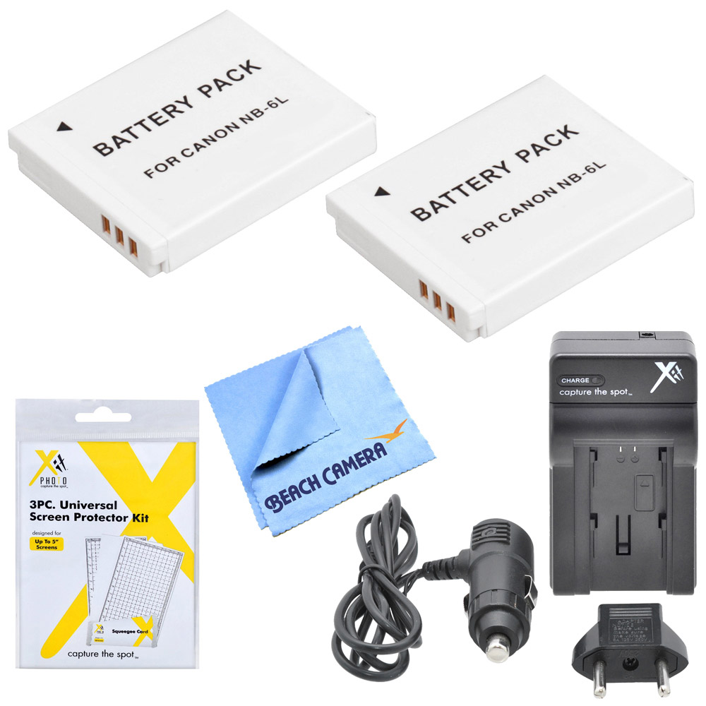 NB-6L Dual Battery & Travel Charger 5pc Kit Canon Powershot , SX270 HS, SX280 HS, SX510 HS, SX520 HS, SX170 IS, S120, SX600 HS, SX700 HS, SX610 HS, SX710 HS, SX530 HS, SX540 HS, CB-2LY Digital Camera