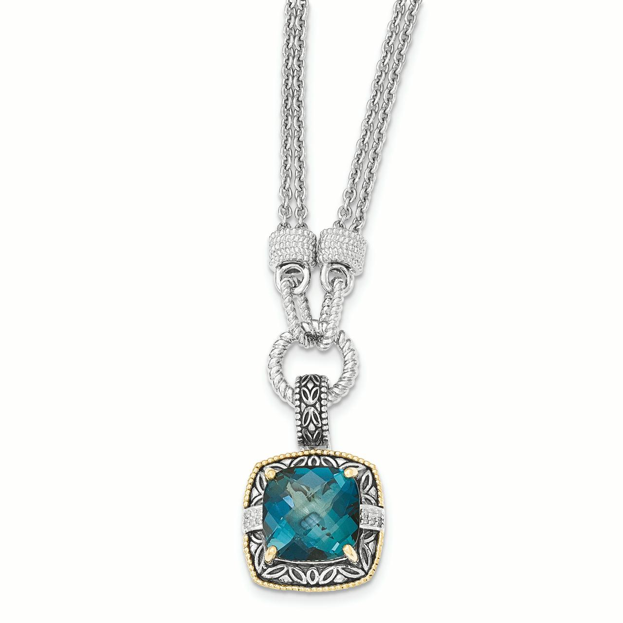 Sterling Silver w 14K London Blue Topaz & Diamond 1in. Ext. Necklace by Saris and Things QG