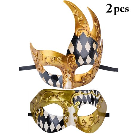 2PCS Masquerade Mask Bulk, Coxeer Vintage Style Decorative Half Face Masks Christmas Mardi Gras Halloween Party Face Masks for Women Men Couples