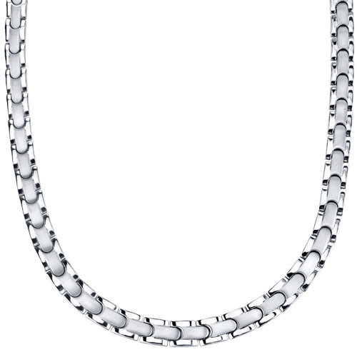 Oravo Smooth Style Titanium Mens Two Tone Flat Link 20 inch Chain Necklace