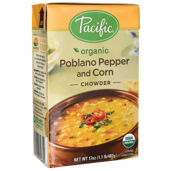 Pacific Foods Organic Poblano Pepper and Corn Chowder, 17-Ounces