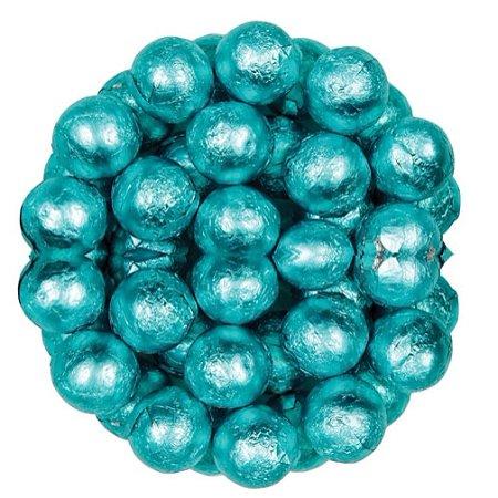 Wrapped Chocolate Balls - Aqua Foil Wrapped Milk Chocolate Balls, (10 Pounds)