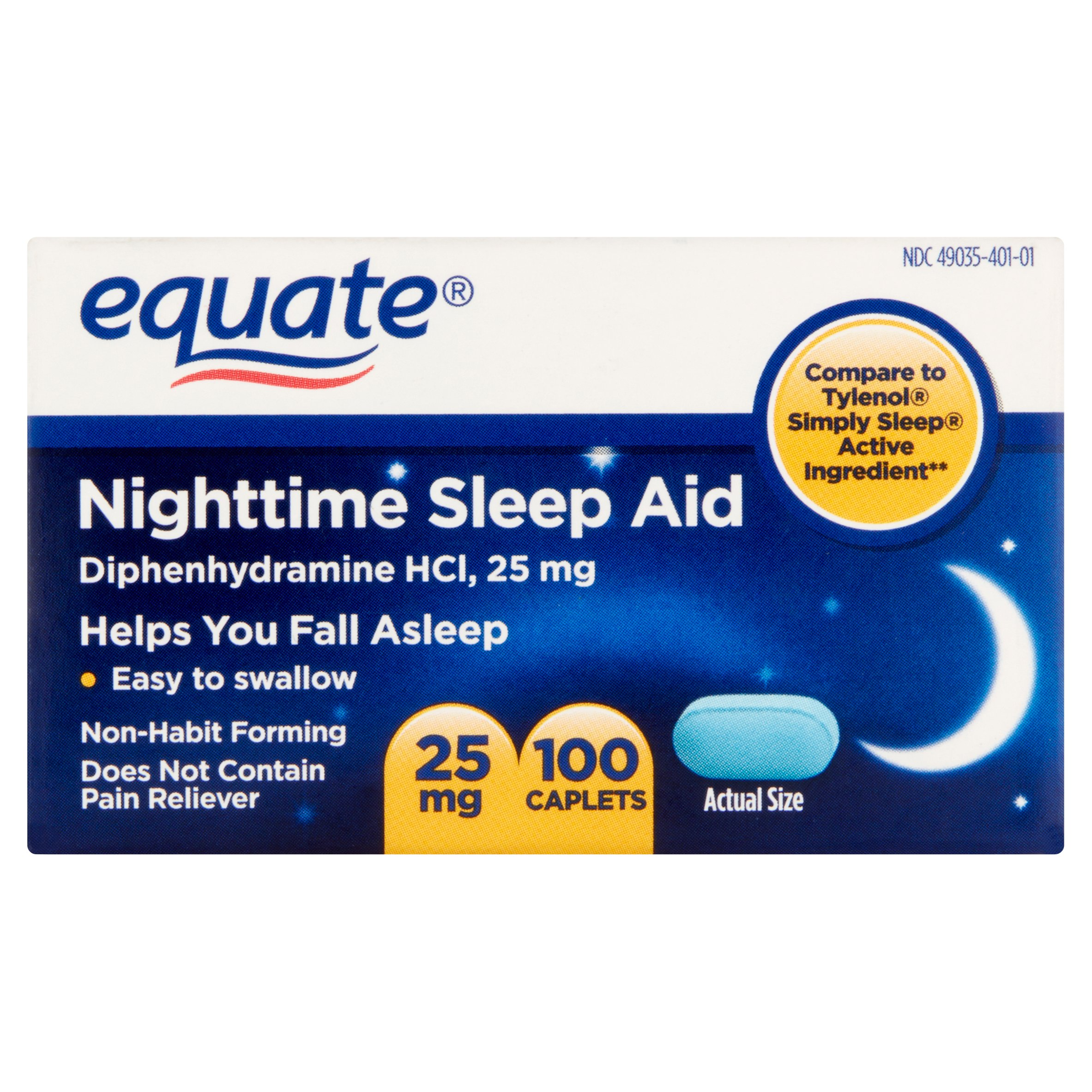 Equate Nighttime Sleep Aid Diphenhydramine HCl Caplets, 25 mg, 100 Ct