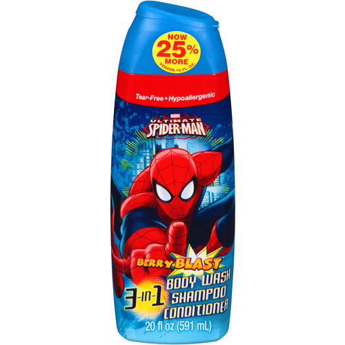Marvel Ultimate Spiderman Berry Blast 3 in 1 Body Wash, Shampoo & Conditioner, 20 fl oz