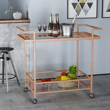 - Noble House Industrial Iron and Glass Bar Cart, Rose Gold