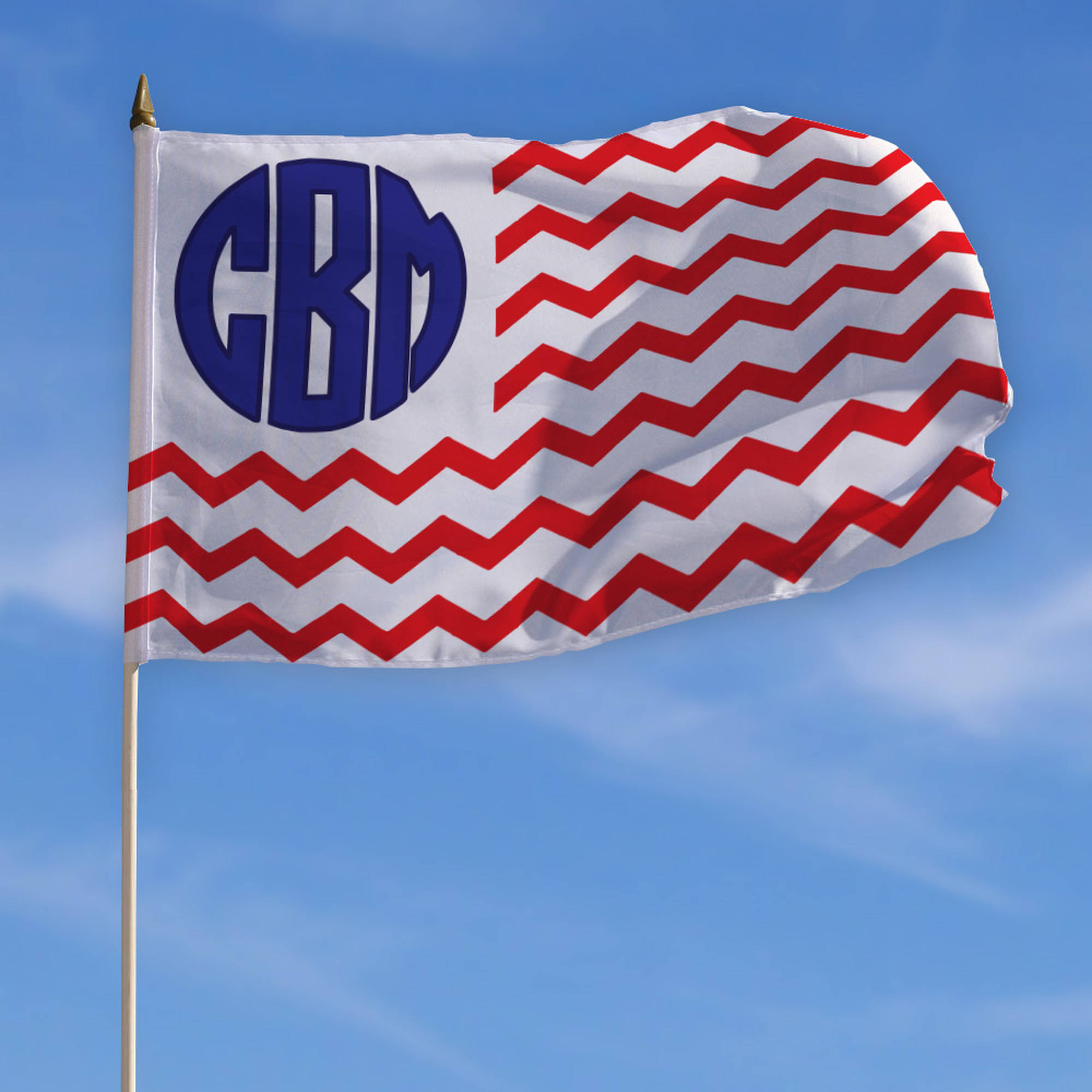 "Personalized Monogram Patriotic Flag with Stick, 18"" x 12"""