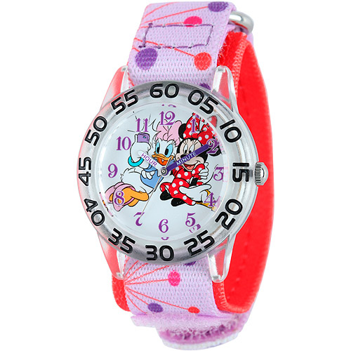 Disney Minnie Mouse Girls' Plastic Case Watch, Printed Stretch Nylon Strap