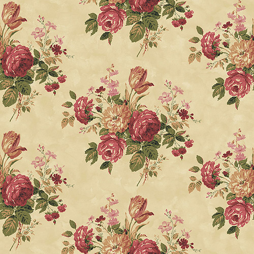 Blue Mountain Vintage Rose Bouquet Wallcovering, Rustic Red