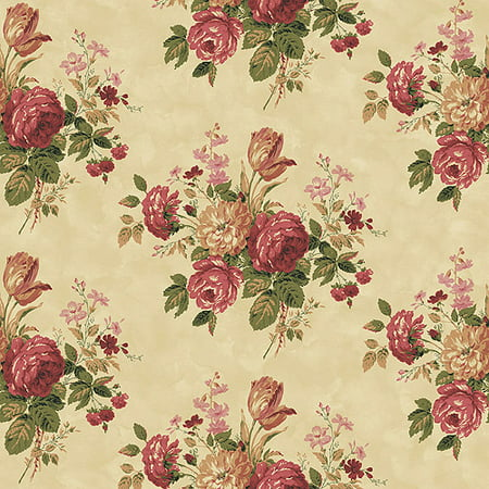 Blue Mountain Vintage Rose Bouquet Wallcovering Rustic Red