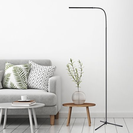SLYPNOS 3-in-1 Ultra Slim LED Floor Lamp, Flexible Dimmable Gooseneck Desk Lamp with C-Clamp and Tripod Base, USB Powered Energy-Saving Reading Lamp for Bedrooms Living Room Study Office, Black