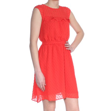 MAISON JULES Womens Red Swiss Dot Sundress Sleeveless Jewel Neck Above The Knee Sheath Dress  Size: 2XS (Red Swiss Dot)