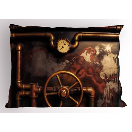 30 Foot Bronze - Industrial Pillow Sham Steam Pipes and Pressure Gauger Vintage Style Damaged Timeworn Engine, Decorative Standard Queen Size Printed Pillowcase, 30 X 20 Inches, Bronze Dark Orange, by Ambesonne