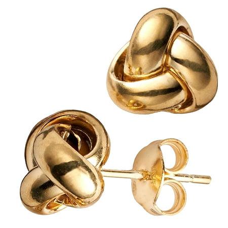 14k Yellow Gold Single Row Love Knot Stud Earrings, - Three Row Studs