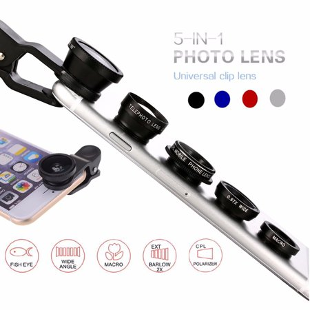 5 In 1 Fish Eye+Wide Angle+Macro+CPL+ 2.0X Telephoto Camera Clip-on Lens Kit for Universal Cell - Fish Mobile