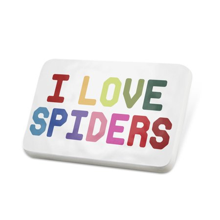 Porcelein Pin I Love Spiders ,Colorful Lapel Badge – NEONBLOND](Colorful Spider)