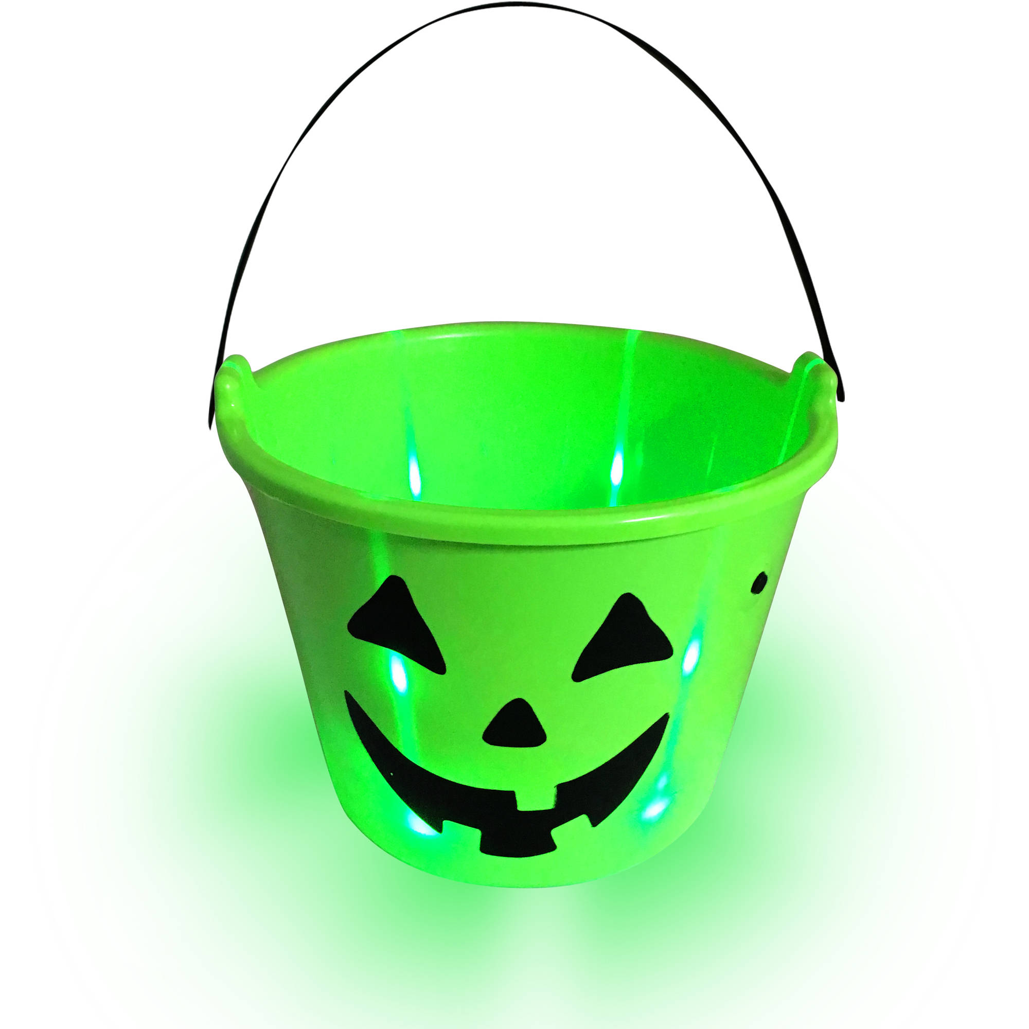 LED Light-Up Halloween Candy Bucket, White Ghost