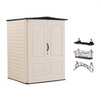 Rubbermaid Medium Vertical 106 CuFt Outdoor Storage Building Shed & Accessories