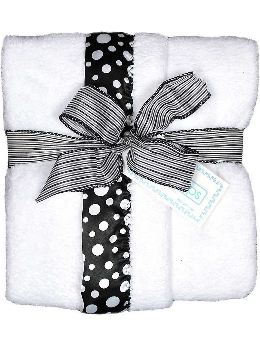 "Raindrops Unisex Baby Flurr Receiving Blanket, Black With White Dots, 28"" X 36"" by Raindrops"