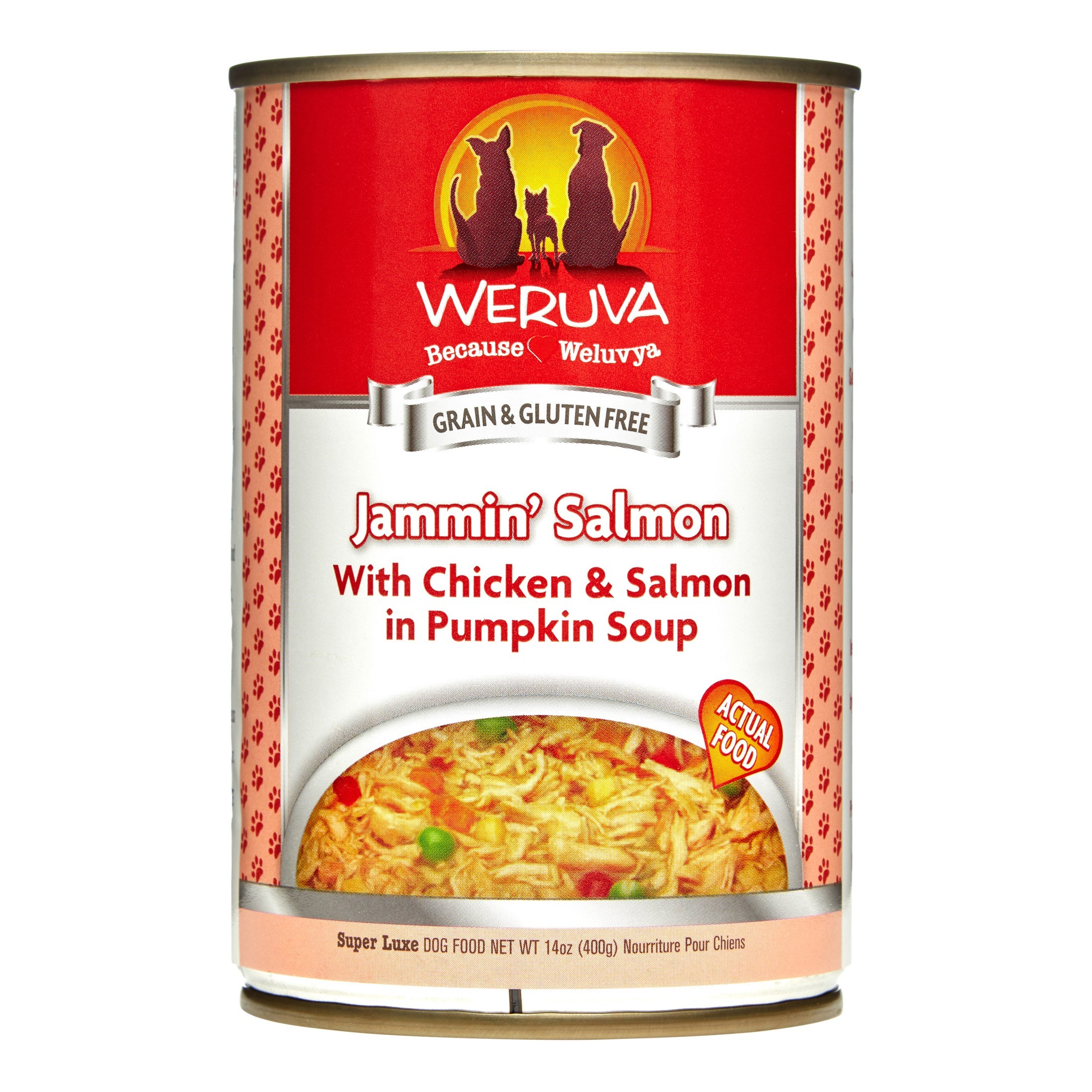 Weruva Human Style Grain-Free Jamin' Salmon with Chicken & Salmon in Pumpkin Soup Wet Dog Food, 14 Oz., Pack of 12