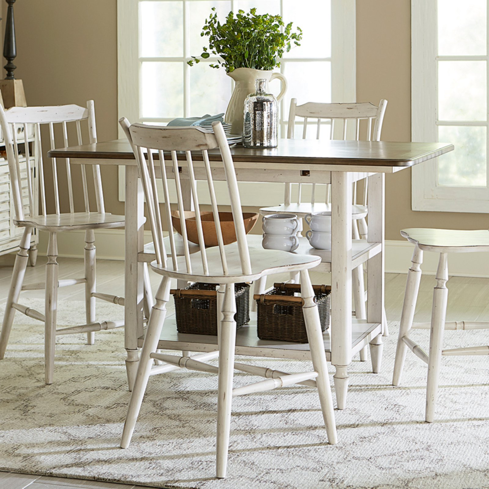 Liberty Furniture Oak Hill Center Island Counter Height Dining Table