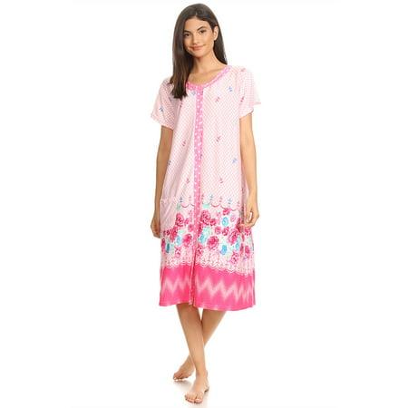 810 Womens Nightgown Sleepwear Cotton Pajamas - Woman Sleeveless Sleep Dress Nightshirt Pink # 58 XXL