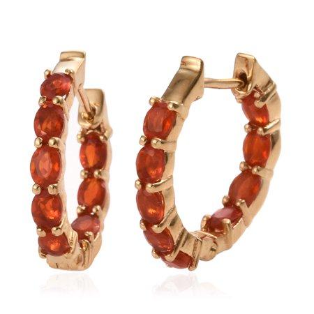 Oval Fire Opal Hoops Hoop Earrings 925 Sterling Silver Vermeil Yellow Gold Jewelry for Women Ct 1.7 22k Gold Vermeil Hoop
