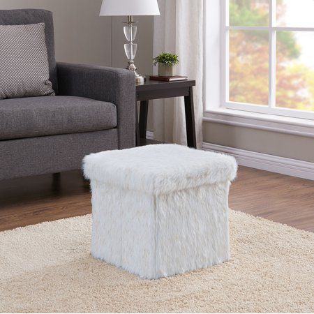 Mainstays Collapsible Storage Ottoman, Ivory and Gold Faux