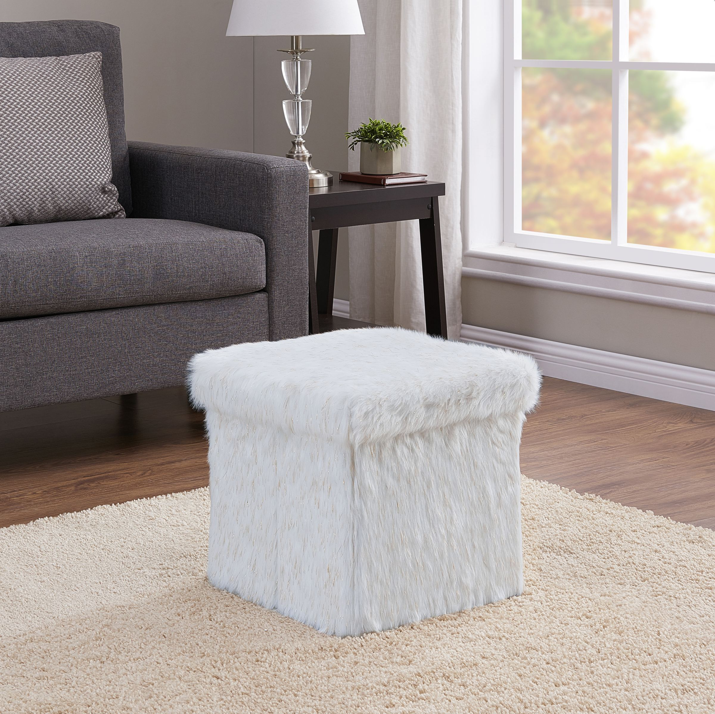 Mainstays Collapsible Storage Ottoman, Ivory and Gold Faux Fur