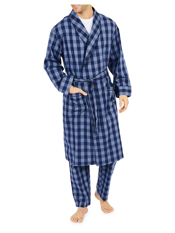 Buffalo Plaid Cotton Shawl Collar Robe