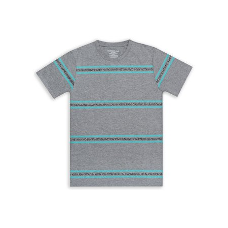 Boy's 2-Way Logo Striped Cotton Blend Tee