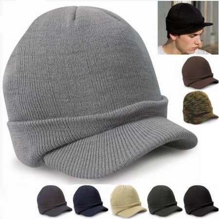 Men Warm Baggy Crochet Visor Brim Beanie Ski Cap Baggy Oversized Knit Skull Hat FOR