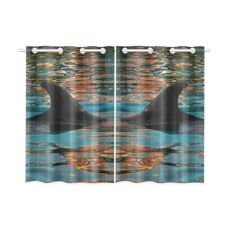 - MYPOP Abstract Art Fin Flipper of Dolphin Window Curtain Kitchen Curtain 26x39 inches (Two Piece)