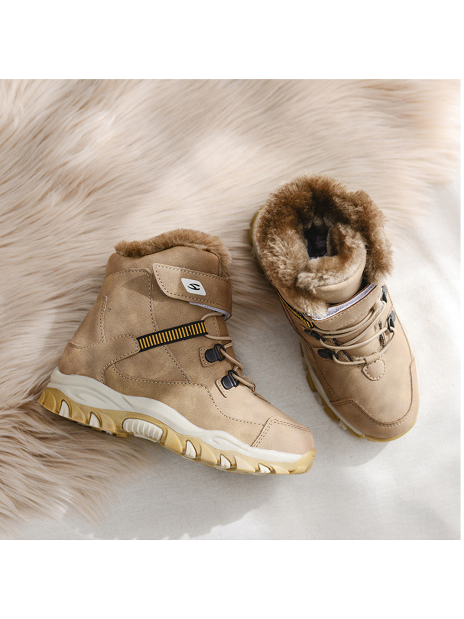 Kids Toddler Boys Winter Retro Fur Lined Snow Ankle Boots Warm Formal Shoes