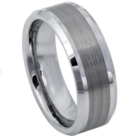 TK Rings 002TR-8mmx10.0 8 mm Brushed Center Shiny Lines on Each Side Beveled Edge Tungsten Ring - Size 10