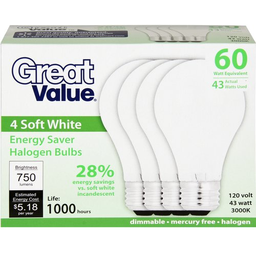 Great Value 43W Halogen Bulb, 4-Pack