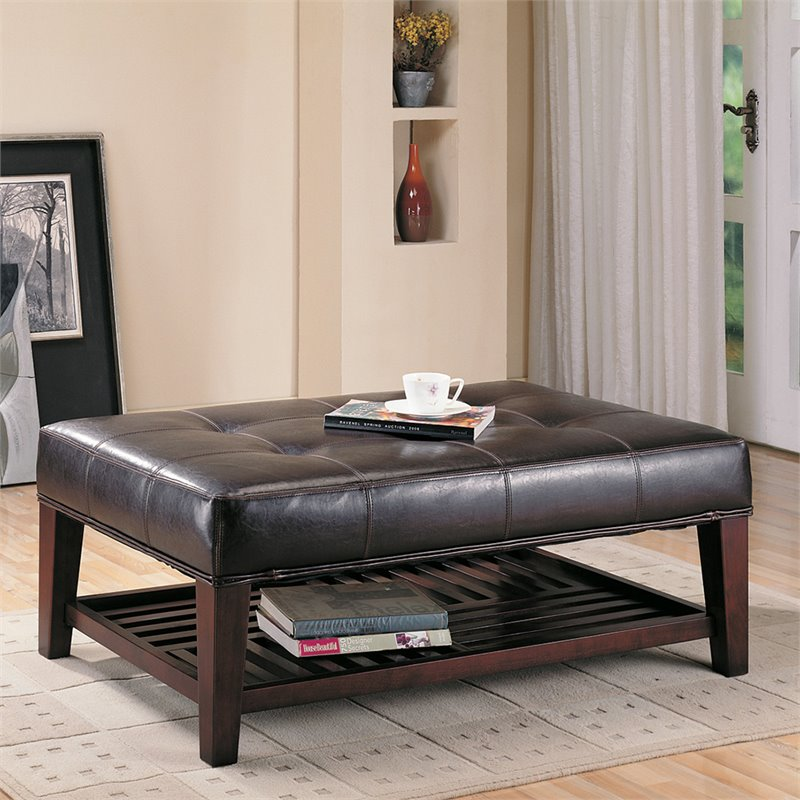 Bowery Hill Faux Leather Coffee Table Ottoman In Brown And Cappuccino Walmart Com Walmart Com