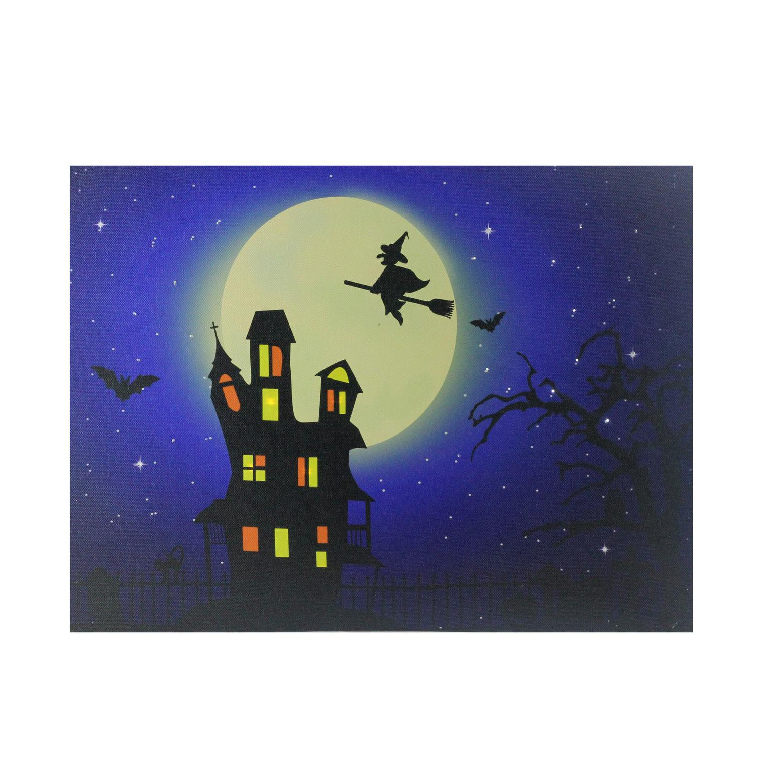 Fiber Optic And Led Lighted Witch In The Moon Halloween Canvas