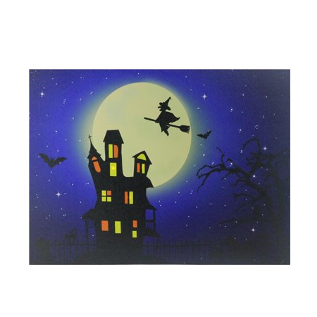 Lighted Witch in Moon Halloween Canvas Wall Art