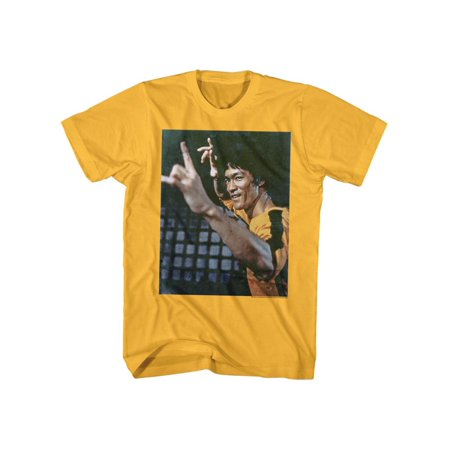 Bruce Lee Chinese Martial Arts Icon Yellow Shirt Adult Mens T-Shirt