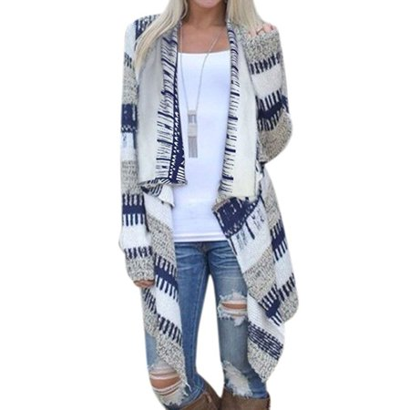 Nlife Womens Geometric Casual Cotton Blended Cape Cloak Cardigan Coat