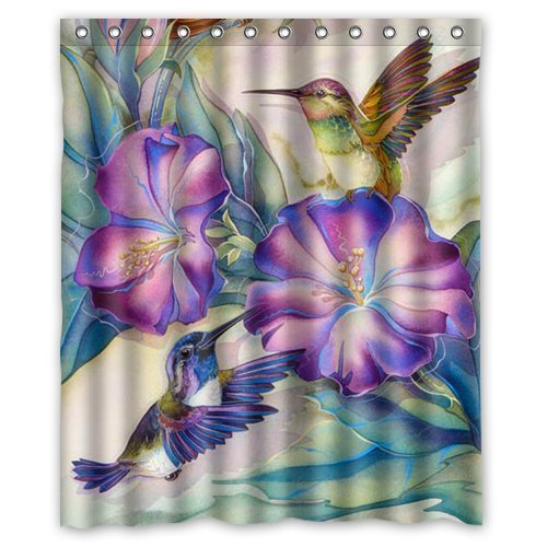 GreenDecor Funny Bird Hotstyle Hummingbird Waterproof Shower Curtain Set  With Hooks Bathroom Accessories Size 60x72 Inches