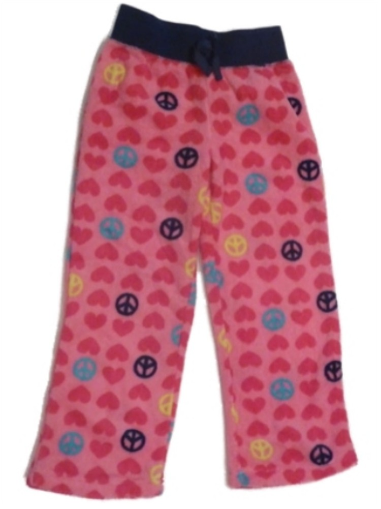 Jellifish Girl Pink Fleece Peace Love Sleep Pants Heart Pajama Bottoms Lounge