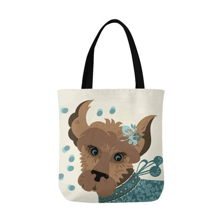 ASHLEIGH Funny Puppy Dog with Beautiful Flowers for Dog Pet Lovers Washable Canvas Tote Bag Resuable Grocery Bags Shopping Bags Canvas Tote Bag Perfect for Crafting Decorating ()