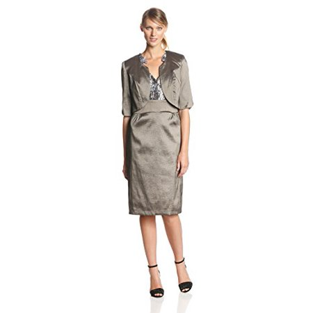 Dana Kay Women's 3/4 Sleeve Ruffle Neck Jacket Dress, Pewter, 16