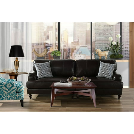 Classic 2 Piece 100% Real Leather Sofa, Convertible Living Room Couch (Brown) ()