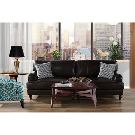 Classic 2 Piece Leather Match Sofa, Convertible Living Room Couch (Brown) ()
