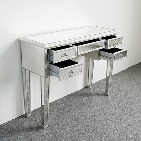 Zimtown Mirrored 5 Drawer Vanity Make-Up Desk Console Dressing Silver Glass -