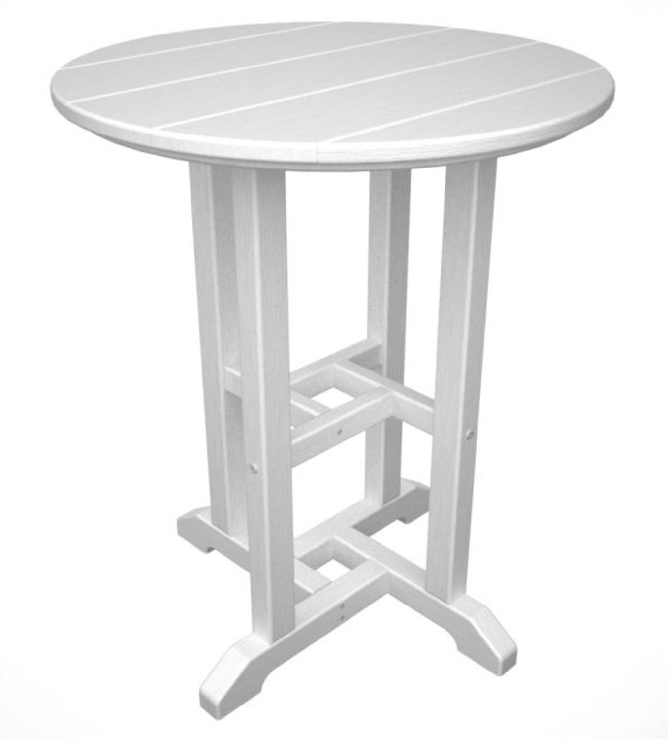 recycled outdoor patio round side table white