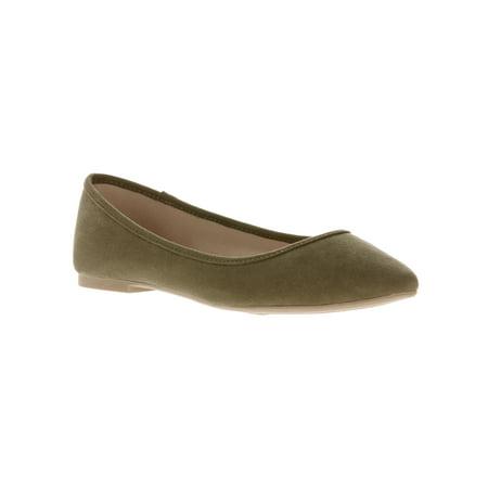 Time and Tru Women's Almond Toe Flat Shoe